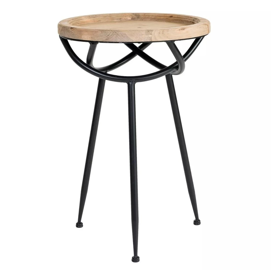 The black and wood side table