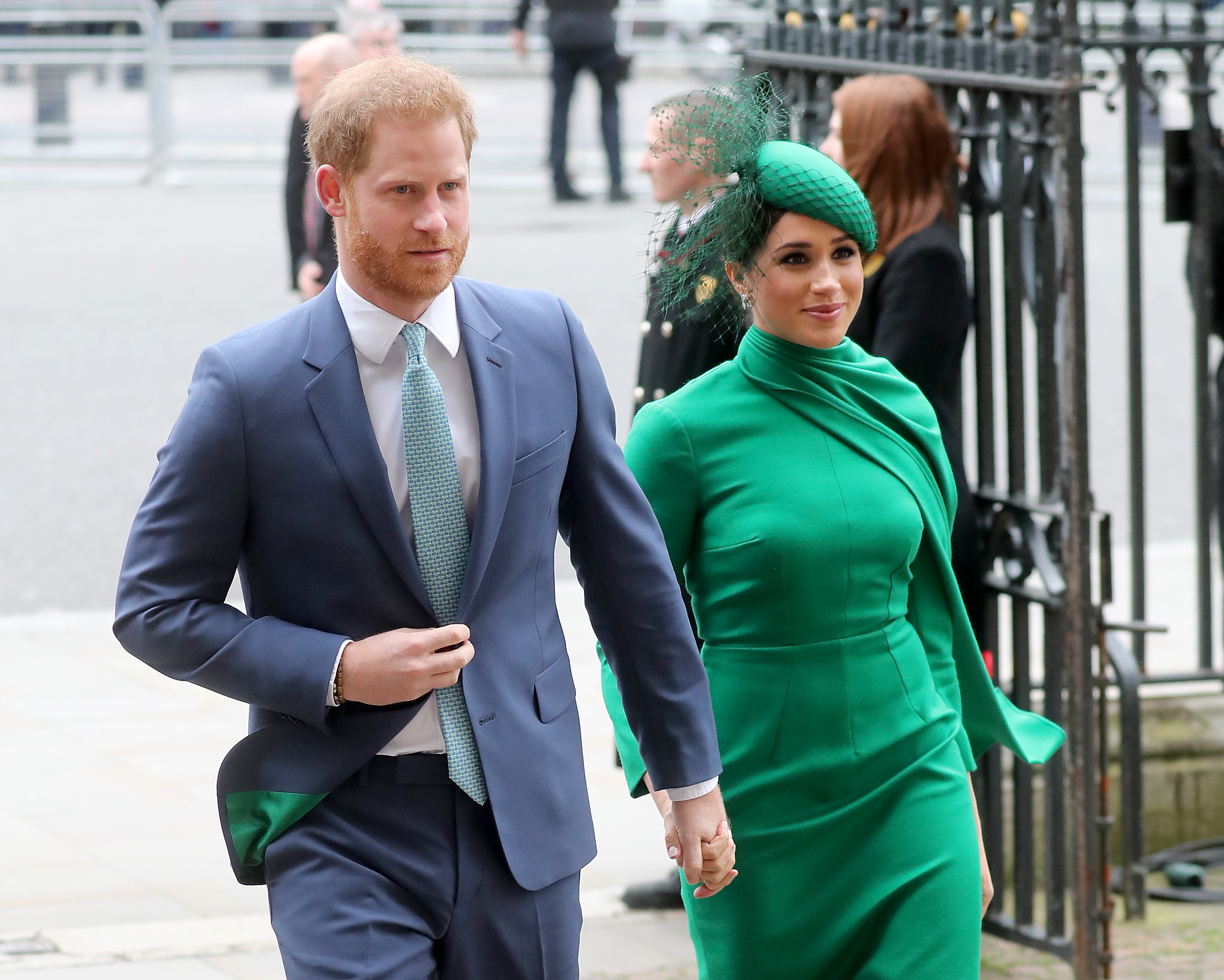 Prince Harry and Meghan Markle walking into church for the Commonwealth Day 2020 service in London
