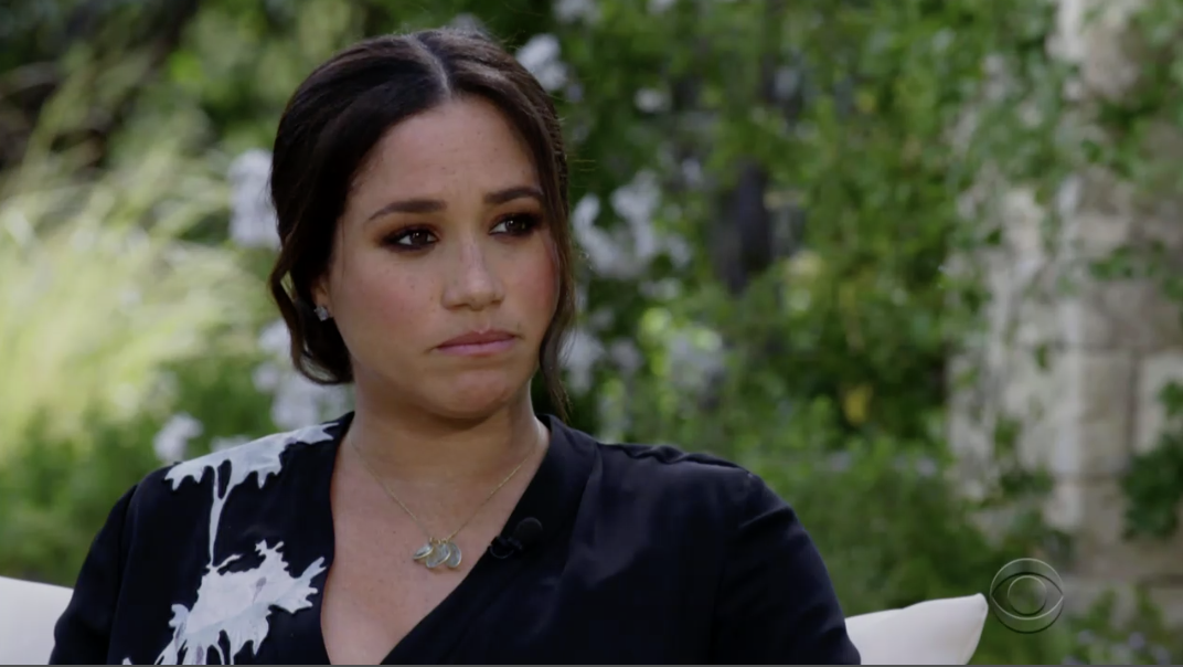 Meghan with a sad look on her face during the interview