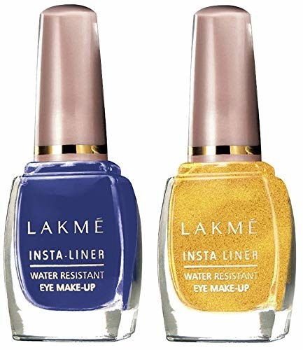 A set of blue and yellow liquid eyeliner from Lakme.