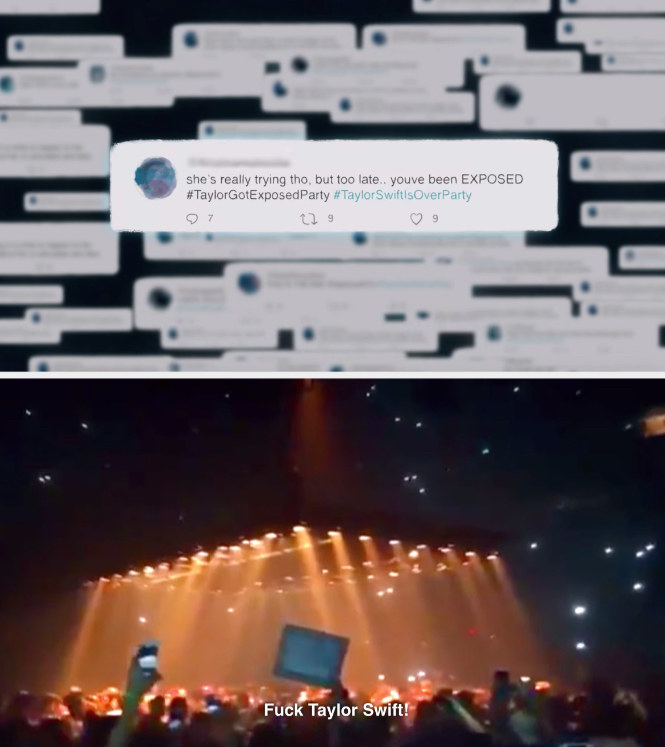 """A series of tweets from the #TaylorSwiftIsOverParty hashtag from Swift's """"Miss Americana"""" documentary; a clip of Kanye West fans chanting """"Fuck Taylor Swift"""" from her """"Miss Americana"""" documentary"""
