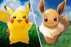 Pikachu and Eevee standing side by side with cute smiles