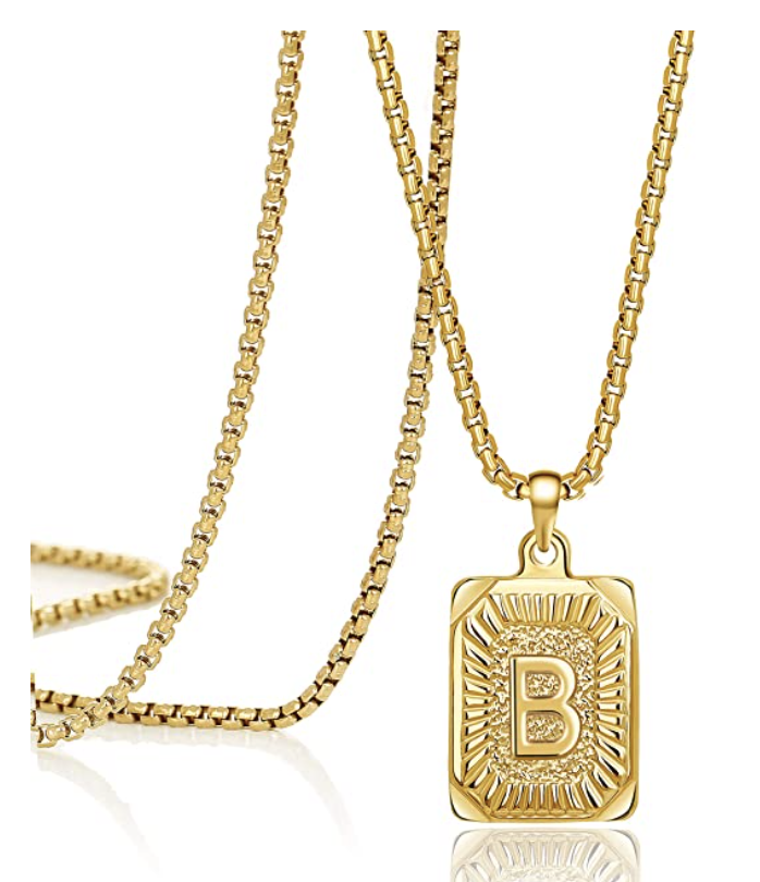 gold square B initial necklace