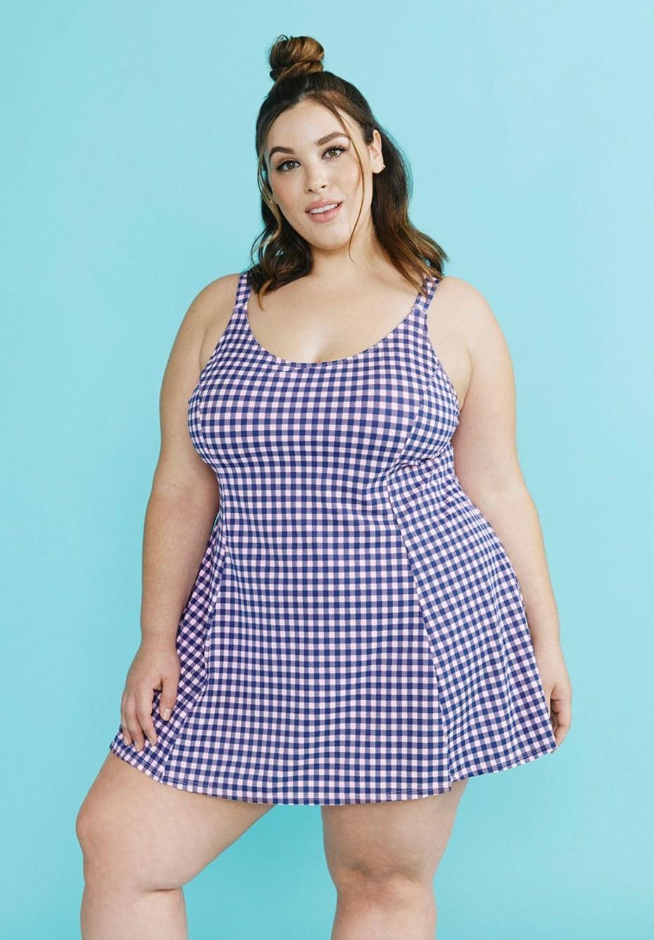 The swim dress in gingham