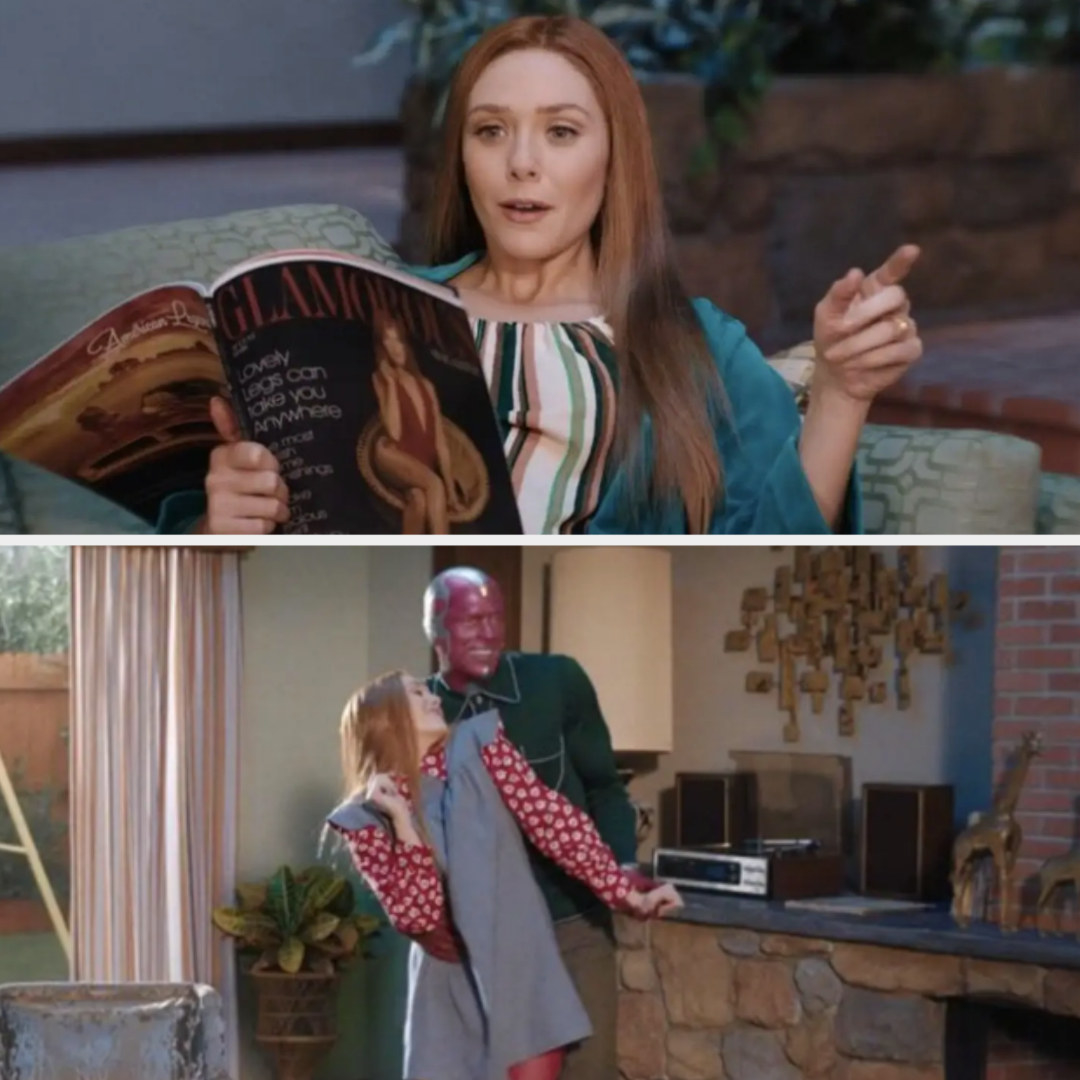 Wanda reading a magazine dressed in blue and colorful stripes and a still of Vision dressed in green and Vanda dressed in red and blue