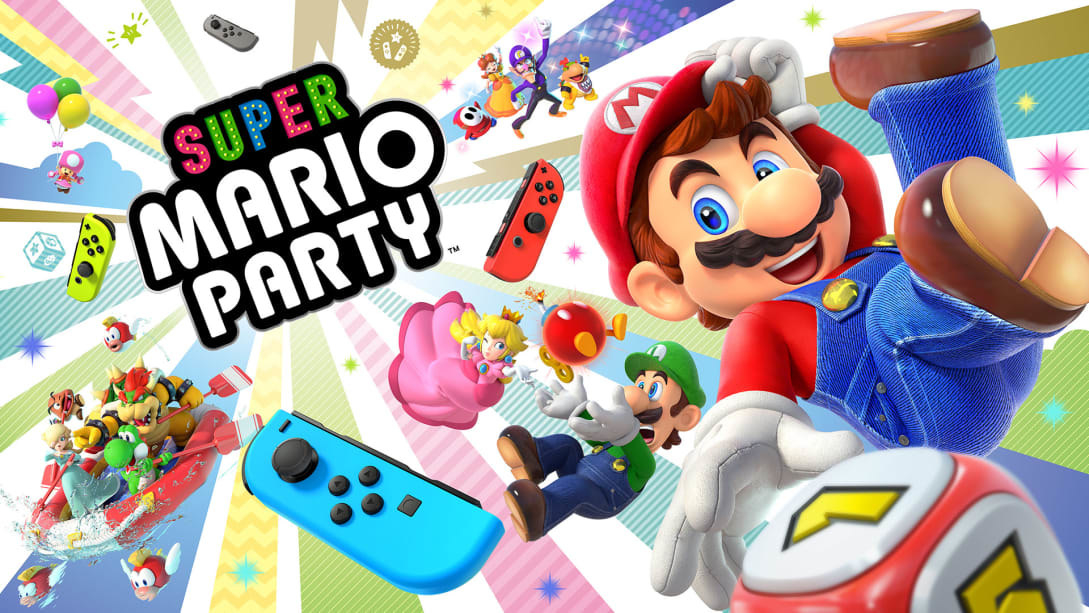 illustration of Super Mario Party with the characters and game controllers from a Nintendo Switch