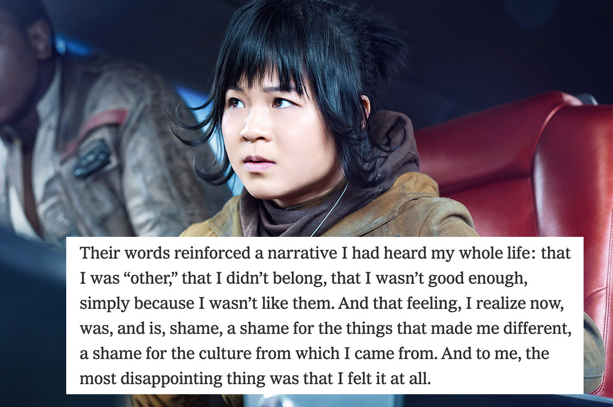 """A picture of Kelly Marie Tran as Rose Tico in """"The Last Jedi"""" with a block of text from her New York Times essay, """"I Won't Be Marginalized by Online Harassment"""""""