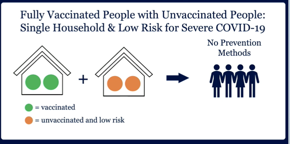 A graphic says that no prevention methods are necessary for vaccinated and unvaccinated, low-risk households to socialize