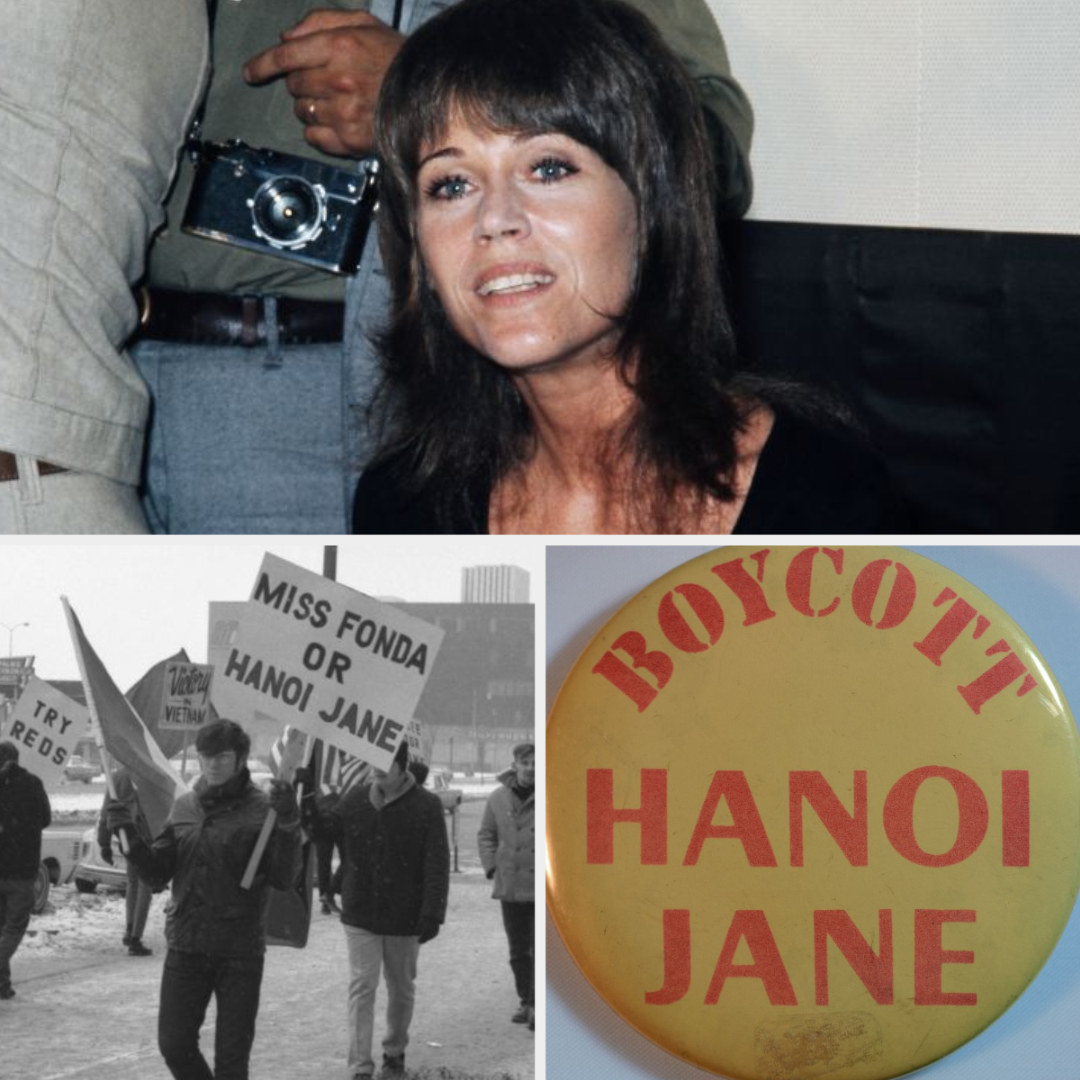 """Jane Fonda at a 1972 press conference; a young man holding a protest sign that reads: """"Miss Fonda or Hanoi Jane;"""" a vintage button from the 1970s that reads: """"Boycott Hanoi Jane"""""""
