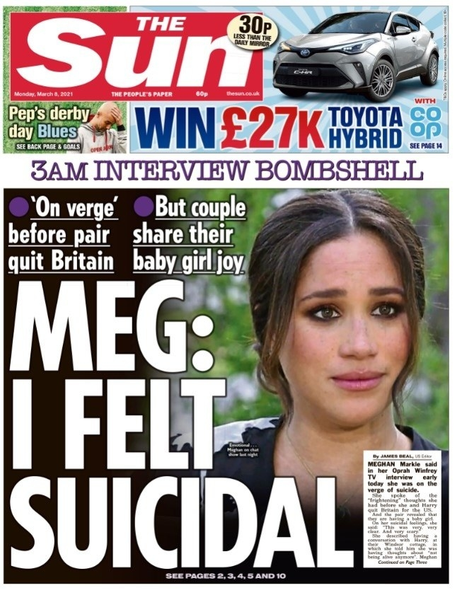 """The front page of the Sun reads """"Meg: I felt suicidal"""" in a large font"""