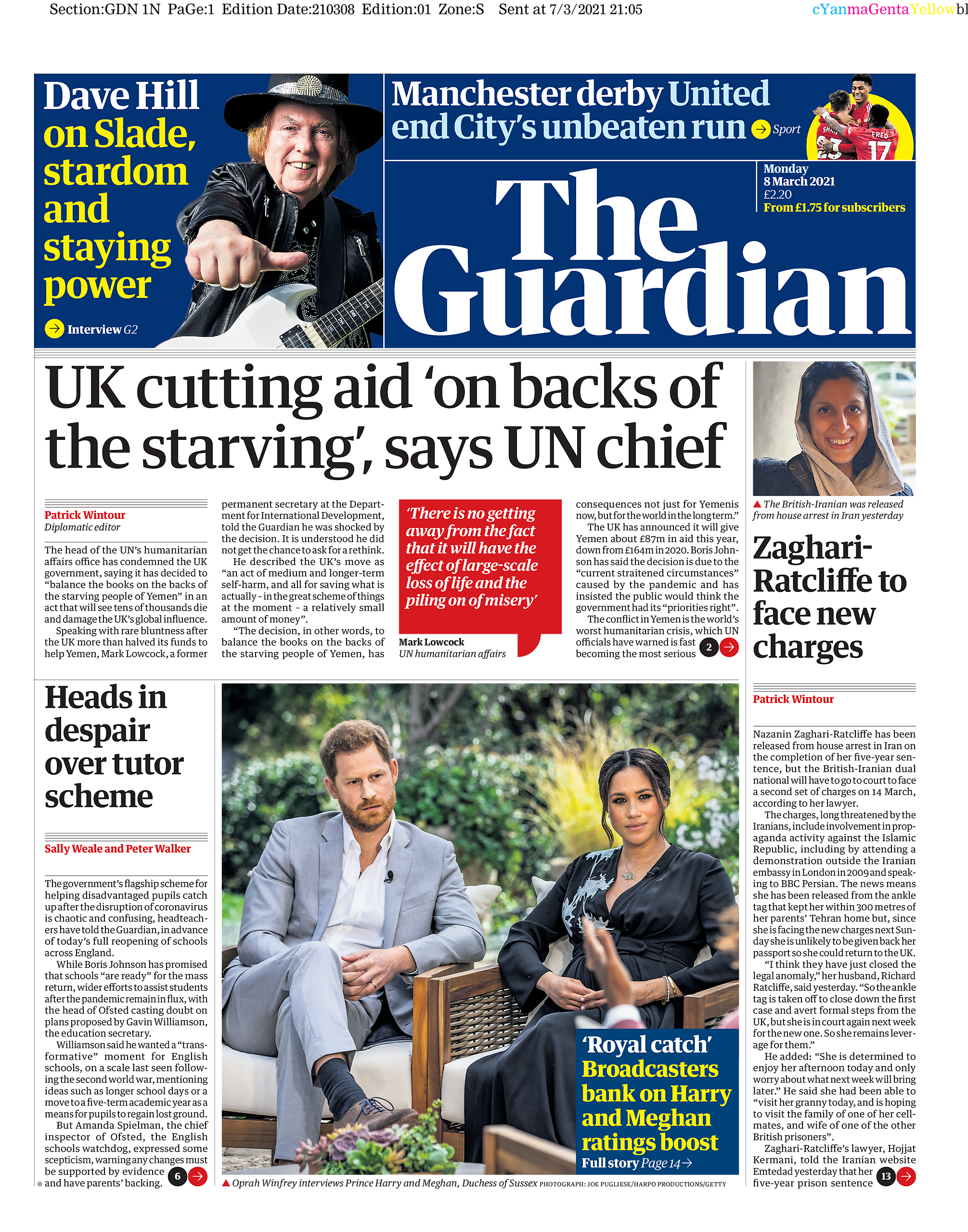 """The Guardian's front page has a photo insert with the caption """"Broadcasters bank on Harry and Meghan ratings boost"""""""