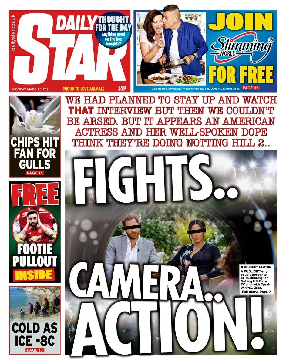 """The Daily Star front page reads """"Fights, Camera, Action"""""""