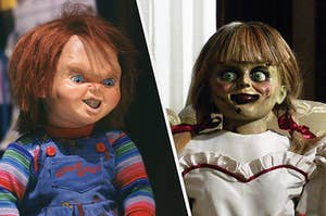 Chucky and Annabelle sitting side by side, with evil smiles on their doll faces