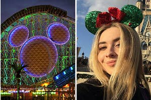 A roller coast from california adventures on the left and sabrina carpenter in christmas mickey ears on the right