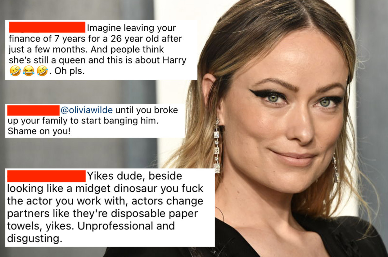 A red carpet image of Olivia Wilde from 2020; a few blocks of abusive comments from Wilde's Instagram account, slut-shaming her for dating Harry Styles