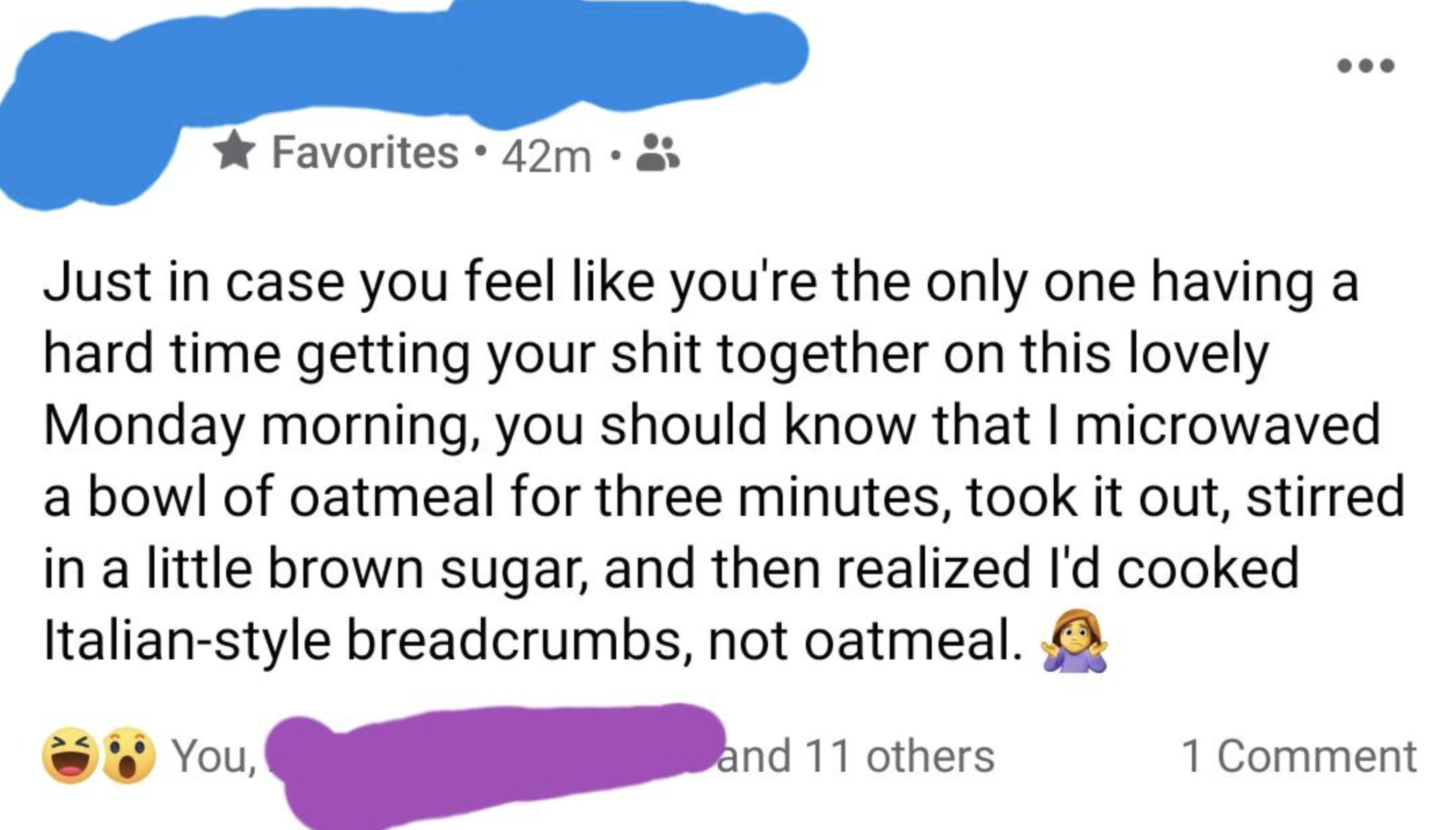 person who cooked breadcrumbs instead of oatmeal