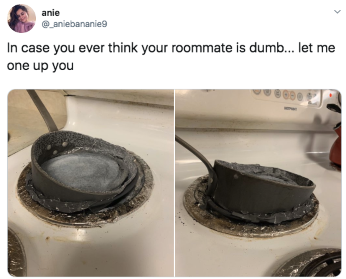 melted pot on a stove