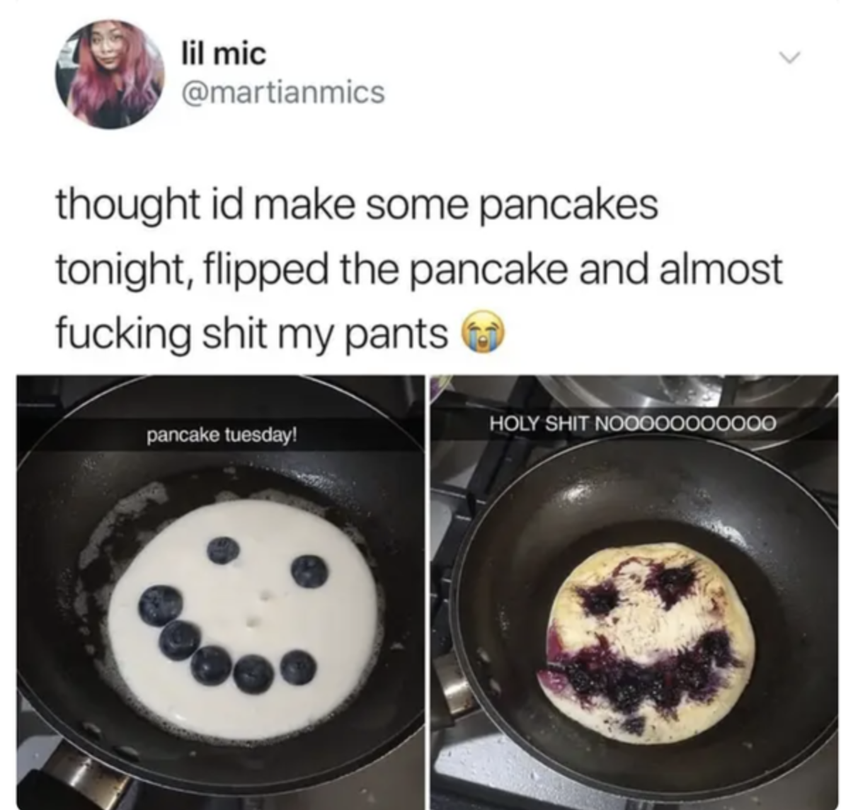 blueberry pancakes with a scary face
