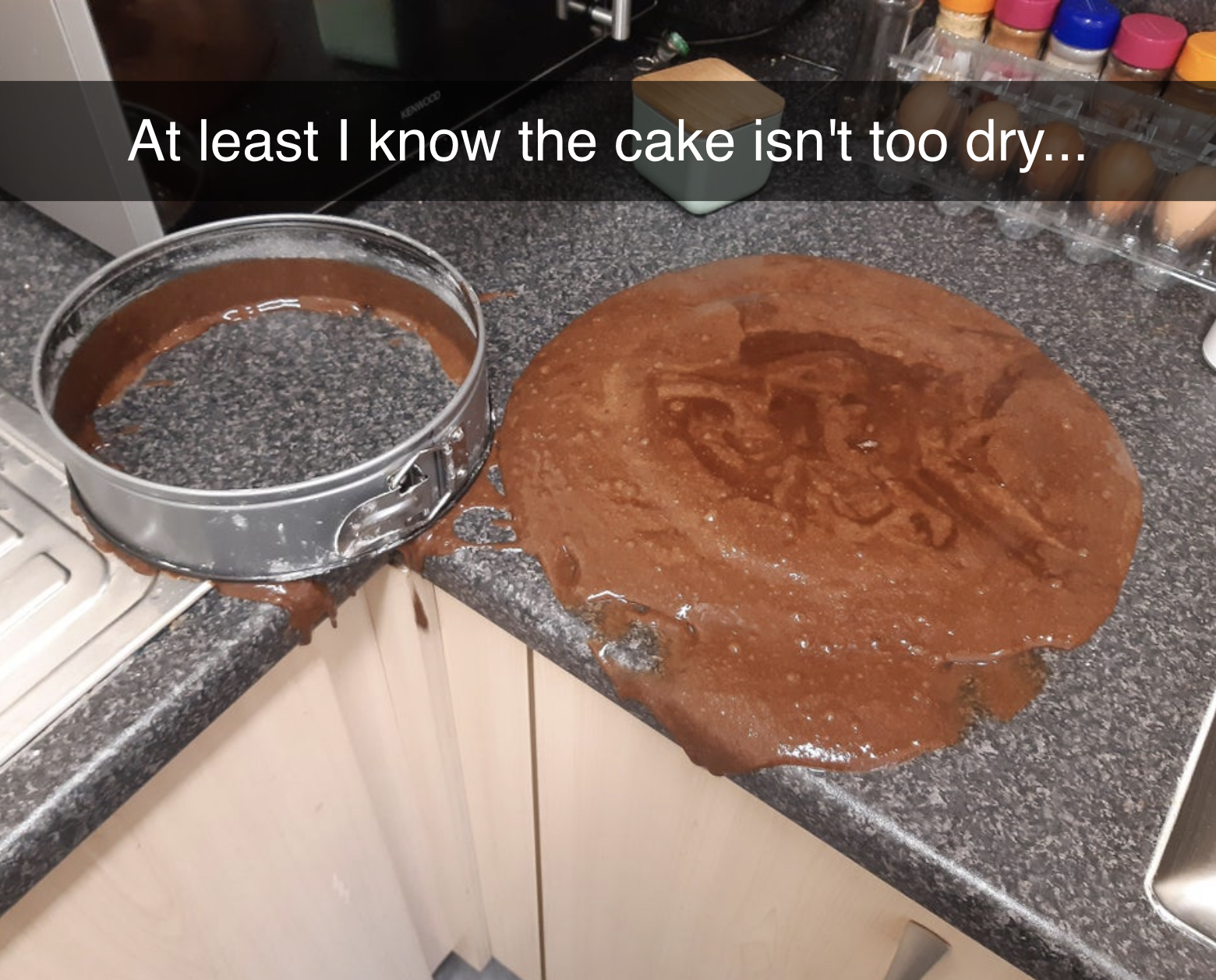person who did not let their cake cook long enough and so it spilled everywhere