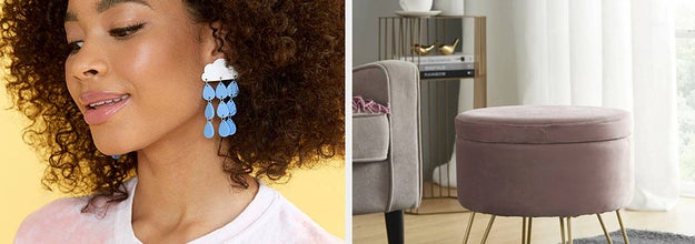 (left) Cloud and raindrop earrings (right) pink velvet ottoman with gold legs
