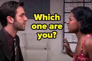 """Which one are you"" written between Ryan and Kelly from ""The Office"" fighting"