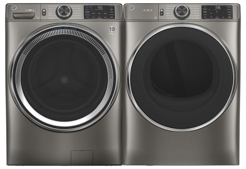 The charcoal gray washer and dryer