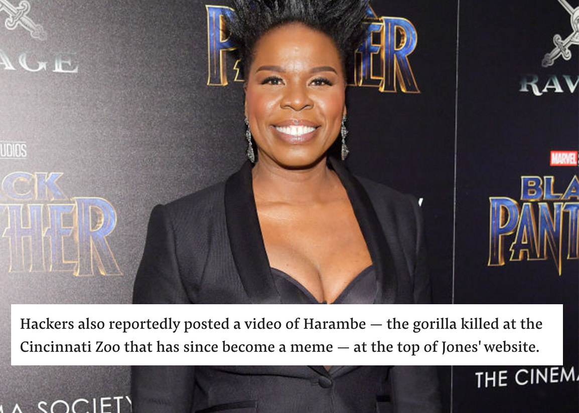"""A red carpet image of Leslie Jones at the """"Black Panther"""" premiere; a block of text from a BuzzFeed News article that reads: """"Hackers also reportedly posted a video of Harambe at the top of Jones' website"""""""