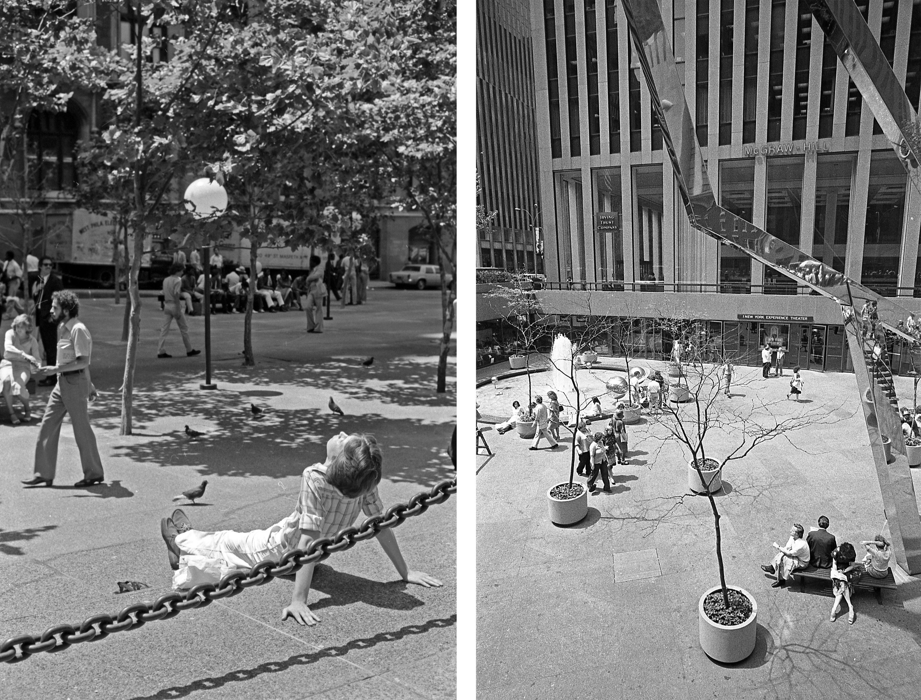 Two side-by-side images show a man sitting on the ground in a park, leaning back, with his face to the sun, and a group of people sitting on benches outside a tall skyscraper