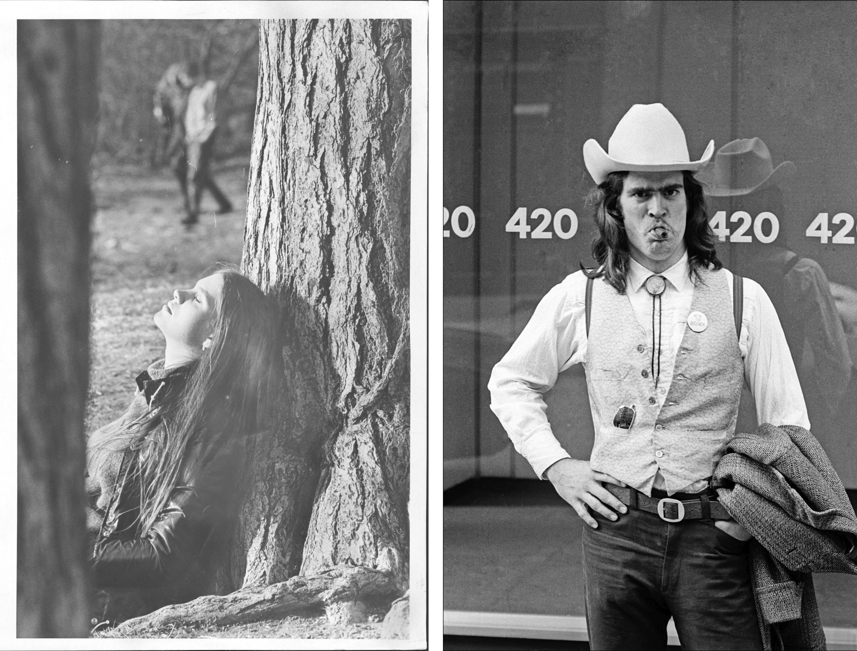 Two side-by-side images show a woman sunning herself leaning against a tree and a man in a cowboy hat in front of a building