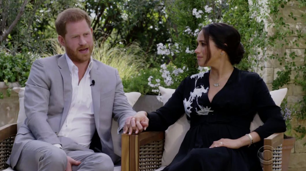 Harry and Meghan holding hands during the interview