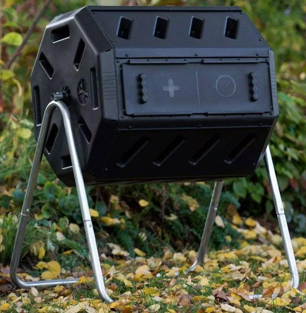 The black composter bin