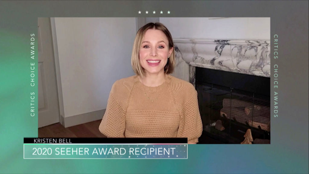 Kristen Bell speaks at the 26th Annual Critics Choice Awards on March 07, 2021