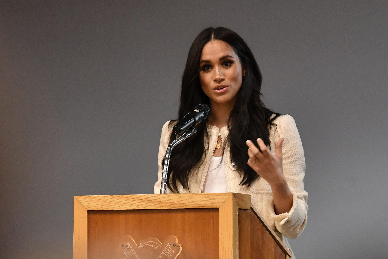 Meghan Markle speaks at Robert Clack Upper School in 2020