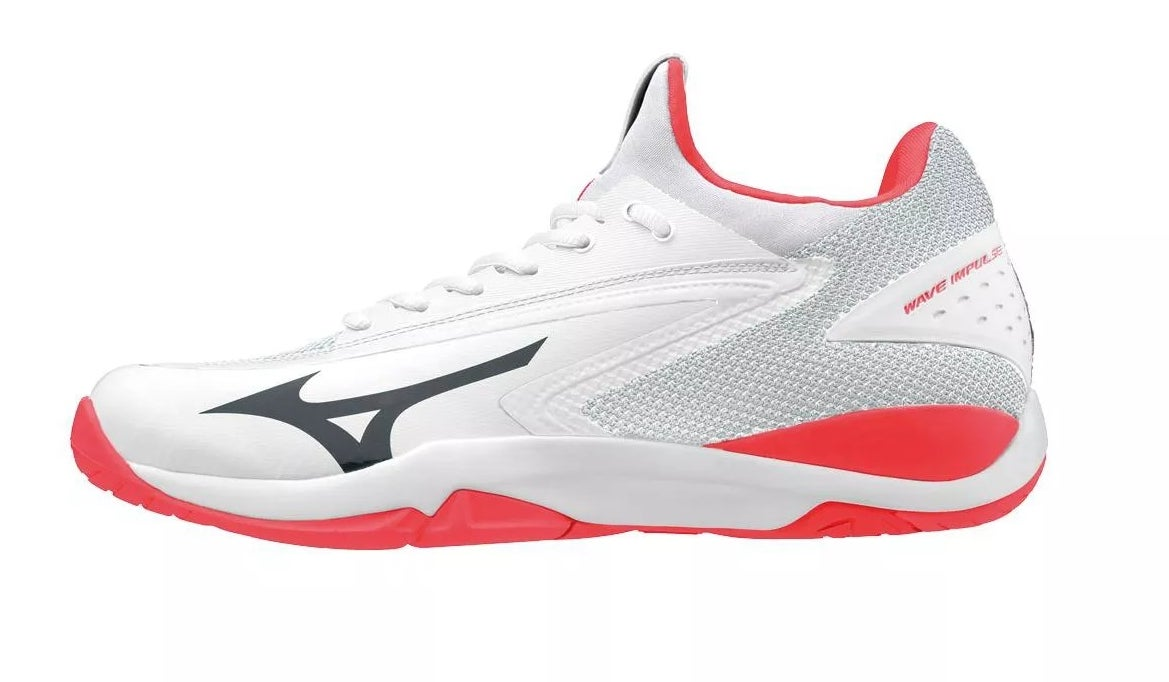 The Mizuno white and coral tennis shoes