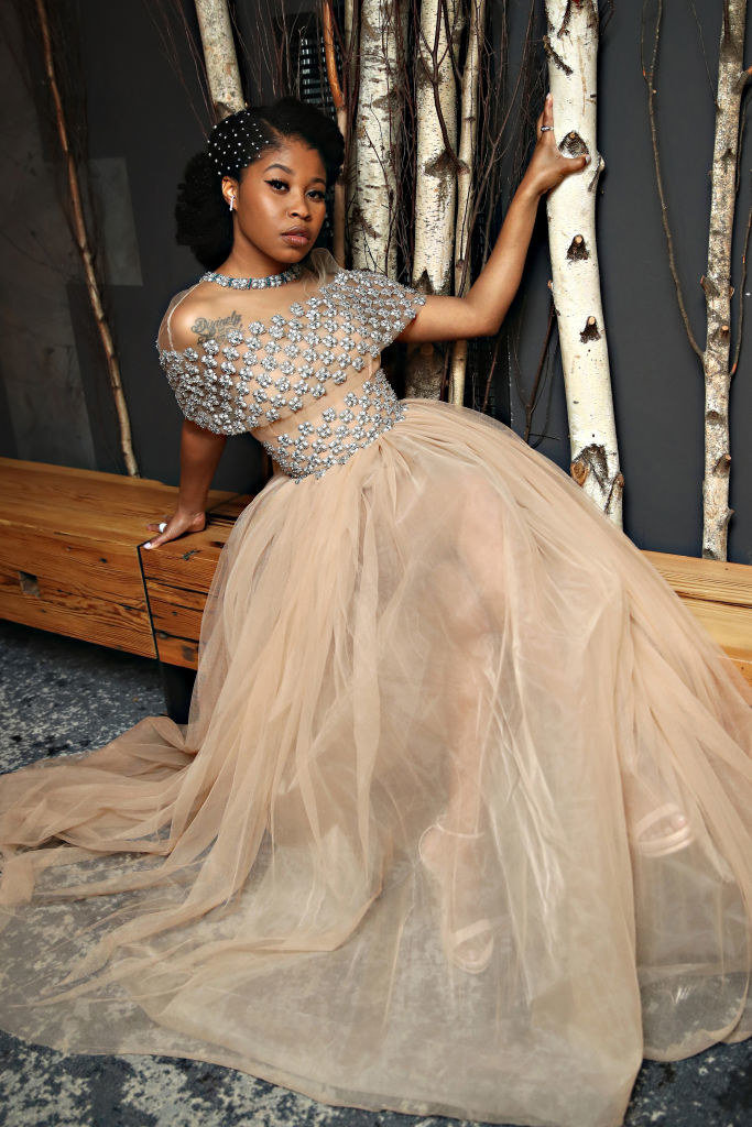 Dominique Fishback gets ready for the 2021 Critics Choice Awards on March 07, 2021 in the Brooklyn borough of New York City