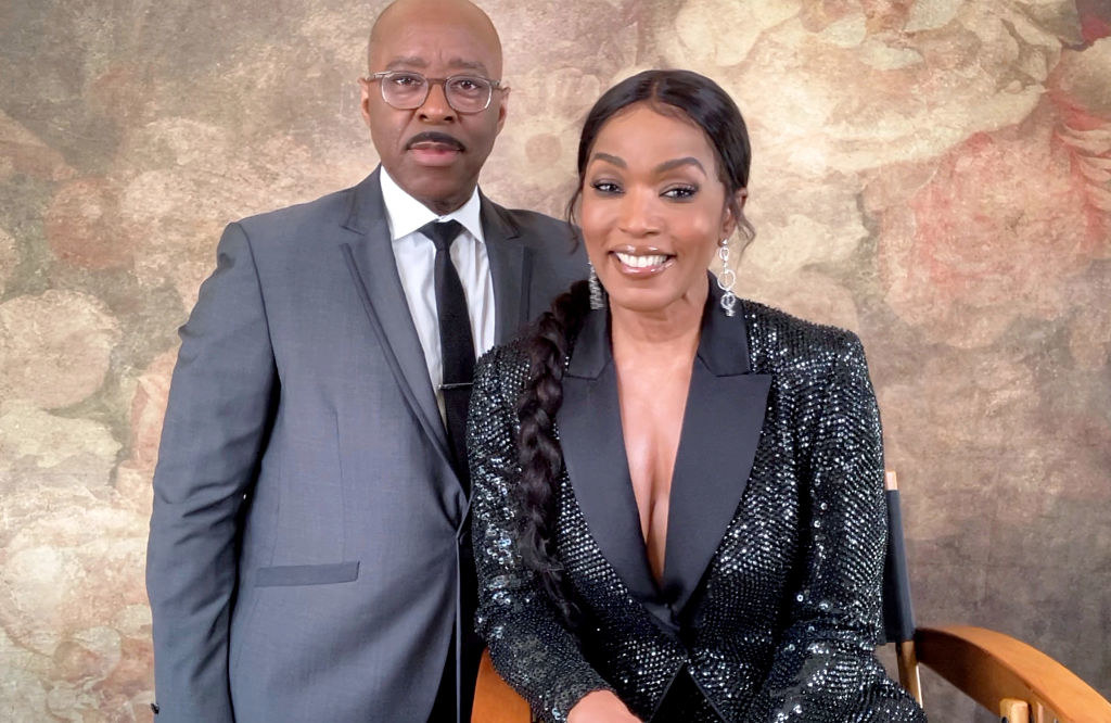 Courtney B. Vance (L) and Angela Bassett speak at the 26th Annual Critics Choice Awards on March 07, 2021