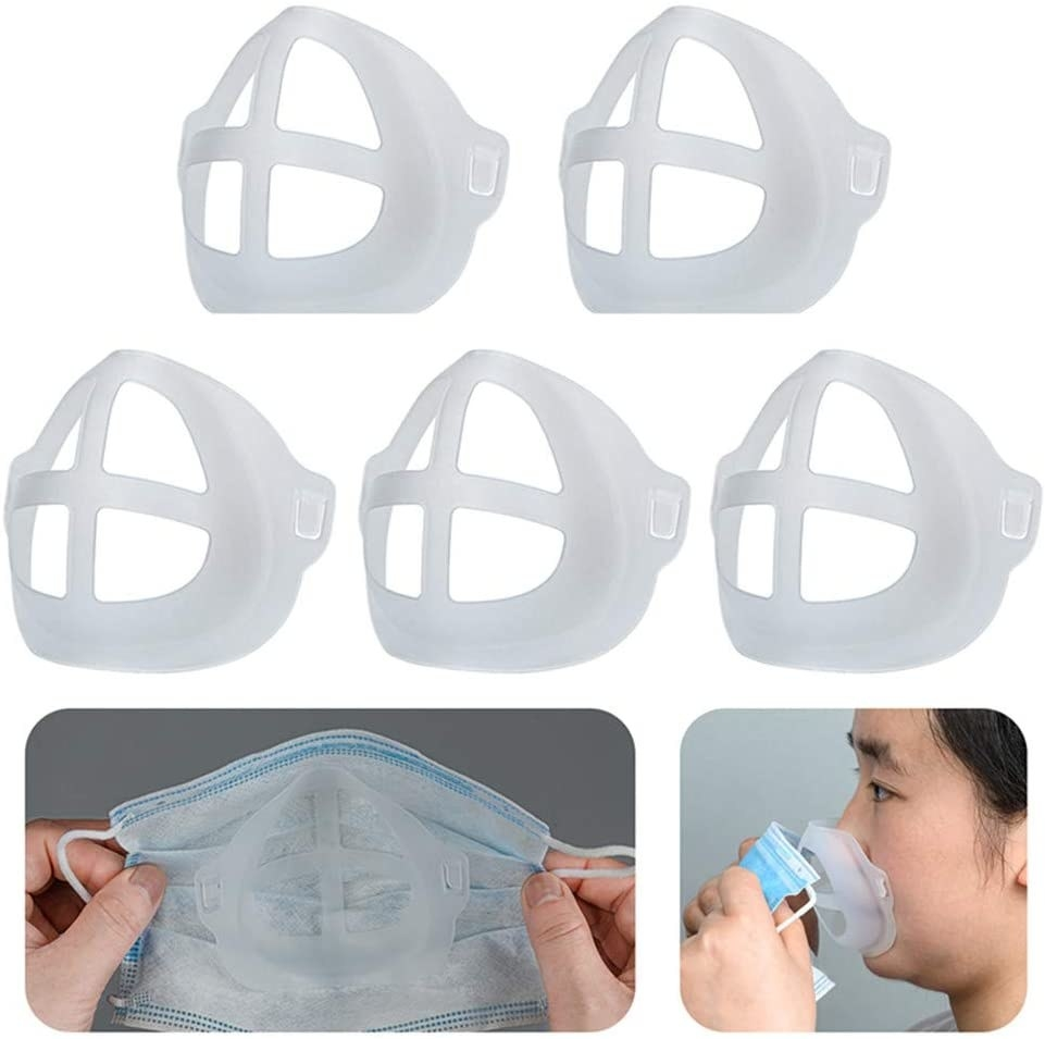 view of the brace inside a face mask and the room it creates to separate the mask from the mouth