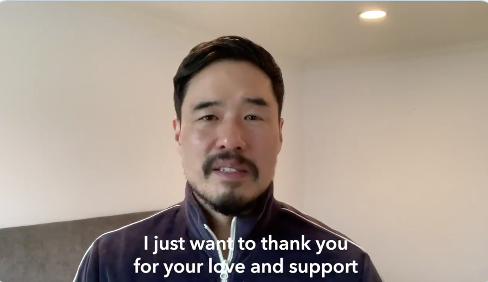 Randall Park thanking fans for the love and support