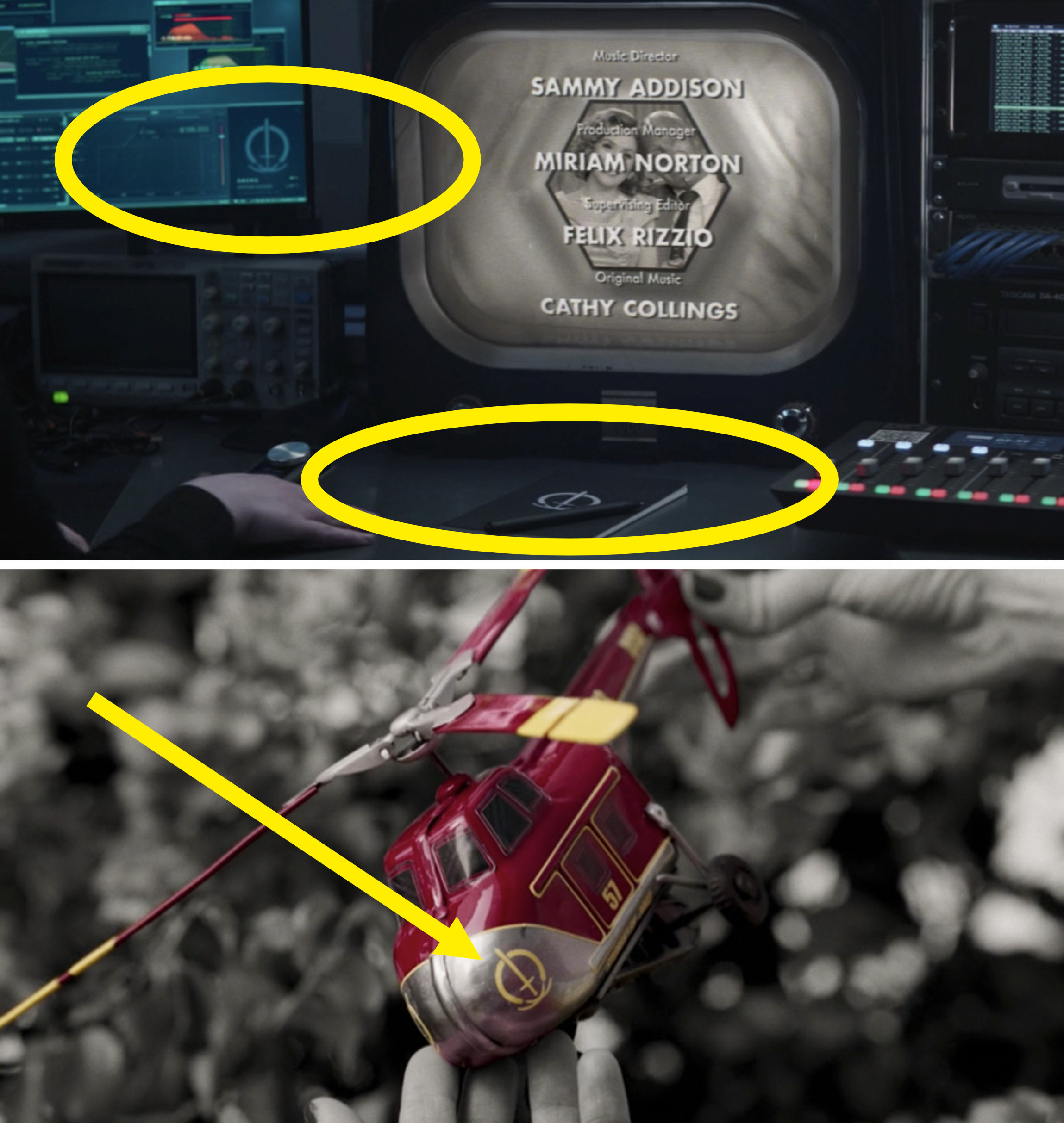 Circles and arrows pointing out the SWORD logo on a monitor and the red helicopter