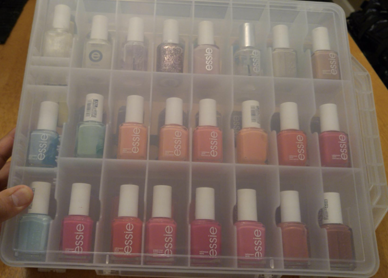 reviewer's Essie nail polish bottles organized in the product