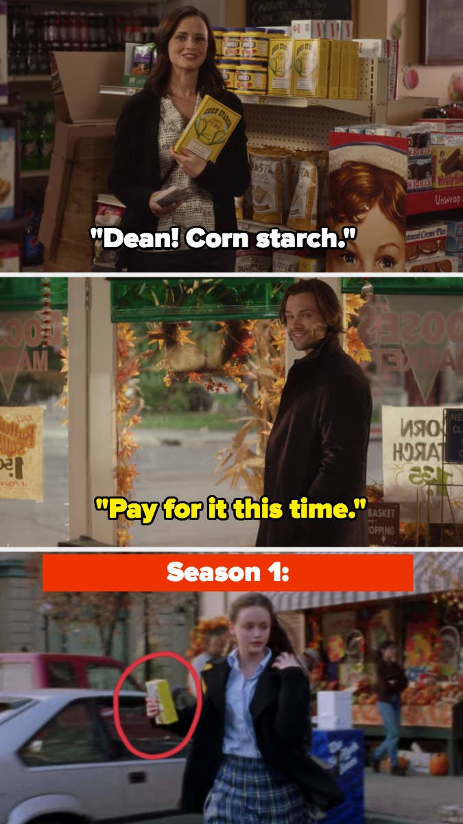Rory holds up box of corn starch, Dean laughs and says to pay for it this time