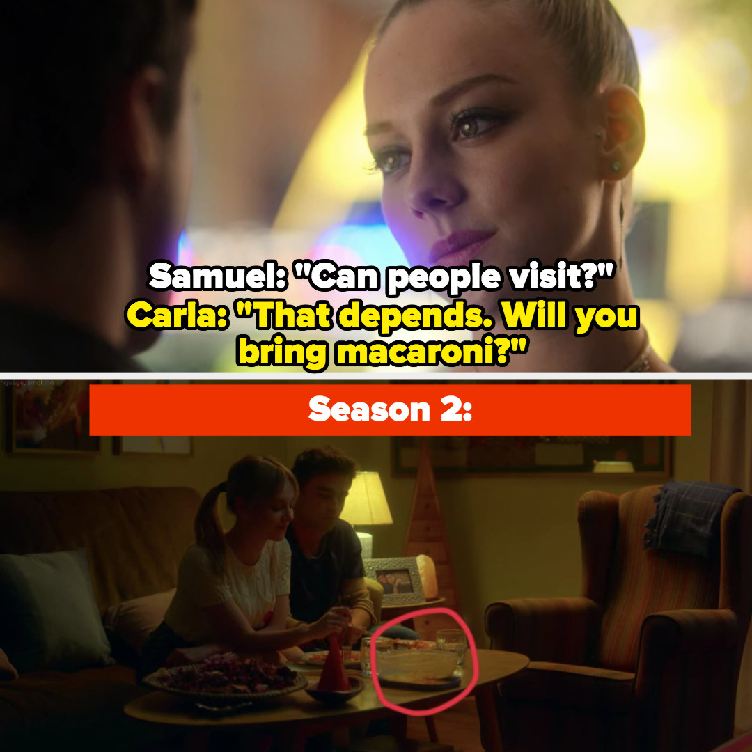 """Samuel: """"Can people come visit?"""" Carla: """"That depends, will you bring macaroni?"""""""
