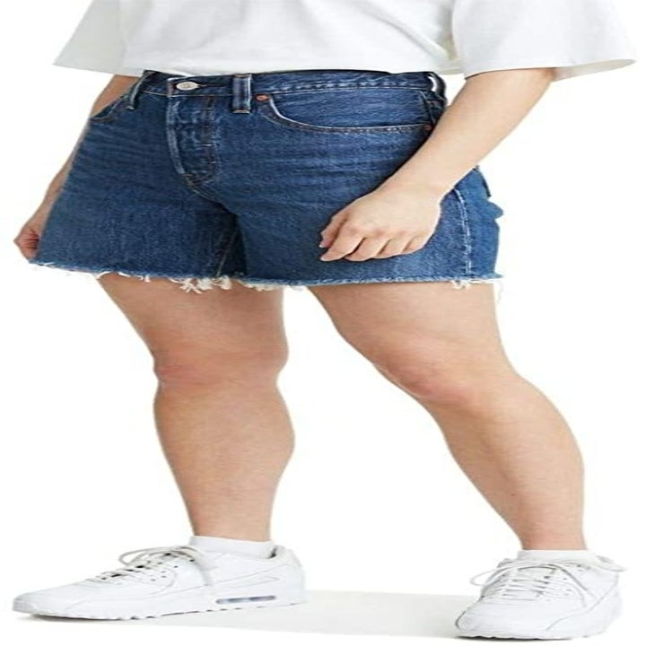 Mom jean shorts with frayed ends and high waist