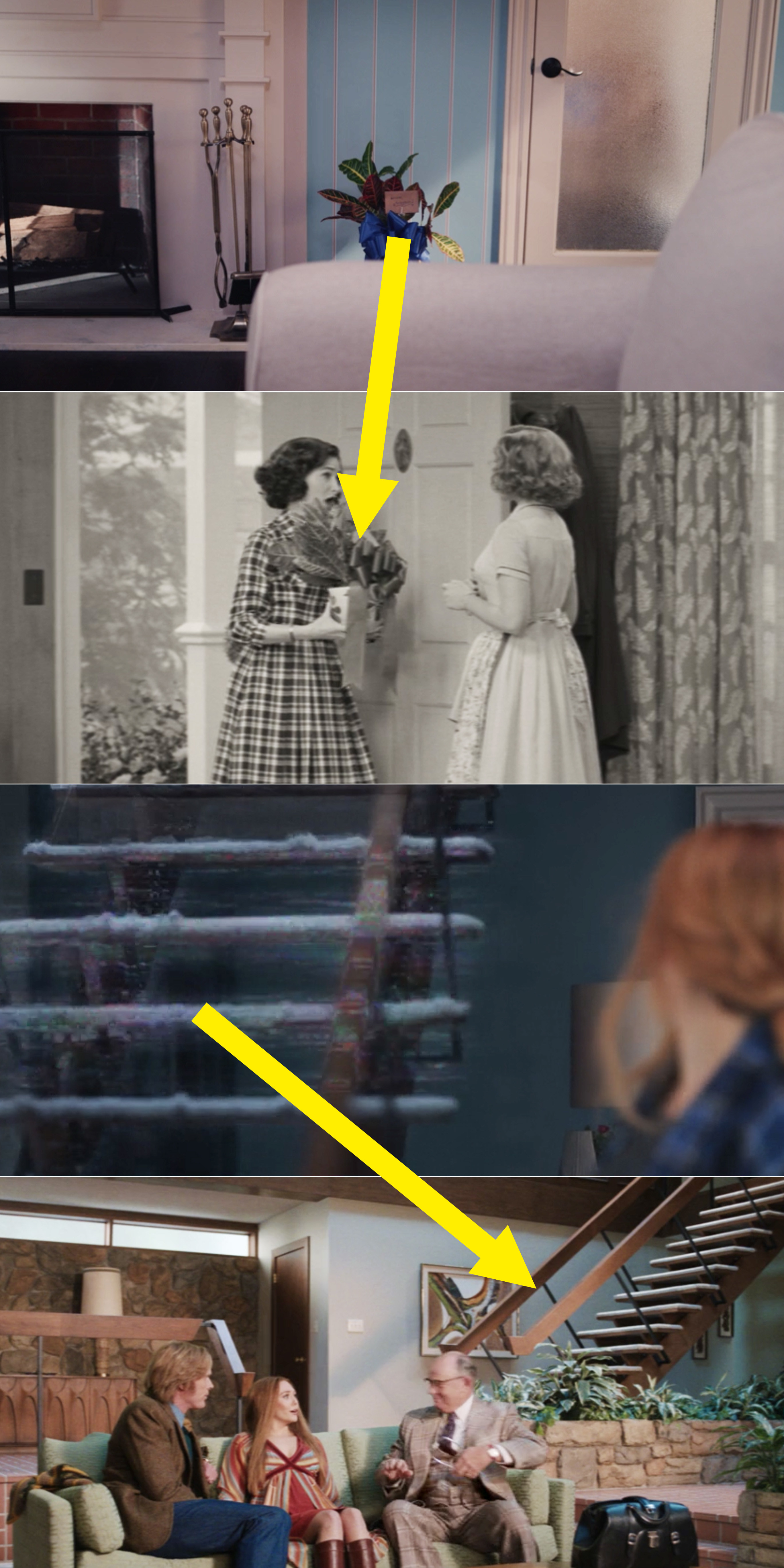 Arrows pointing to the potted plant Agnes gave Wanda and the stairs from Episode 3