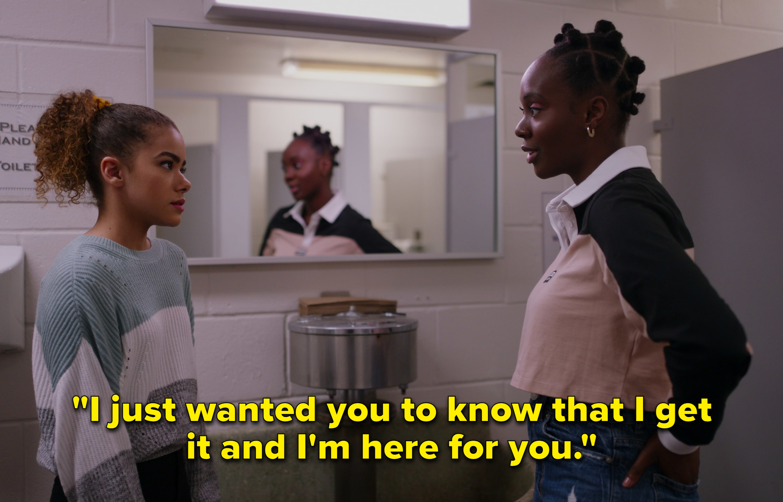 Ginny and Bracia talk in the bathroom