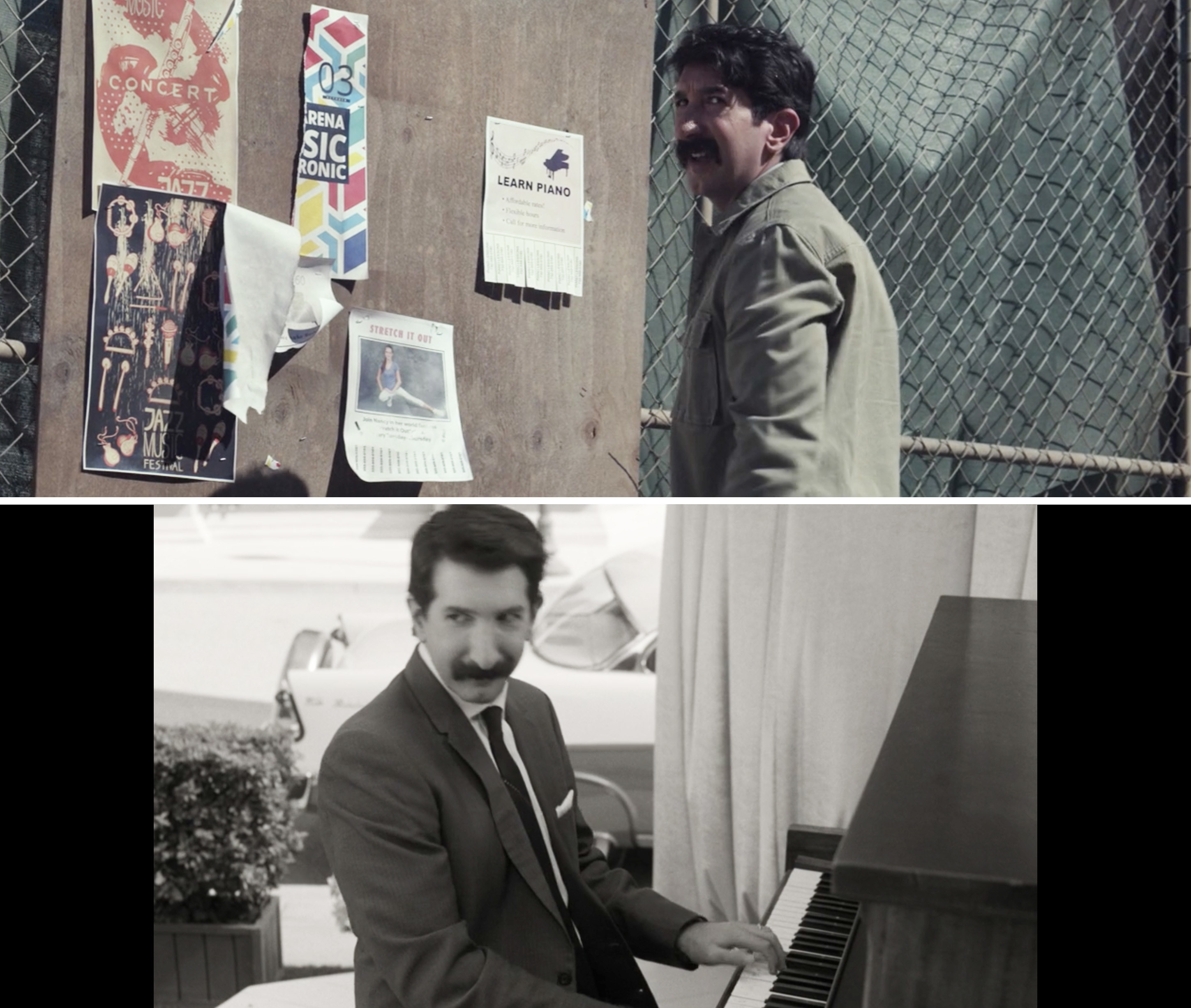 Phil putting up an add for piano lessons vs. Phil playing piano at the talent show