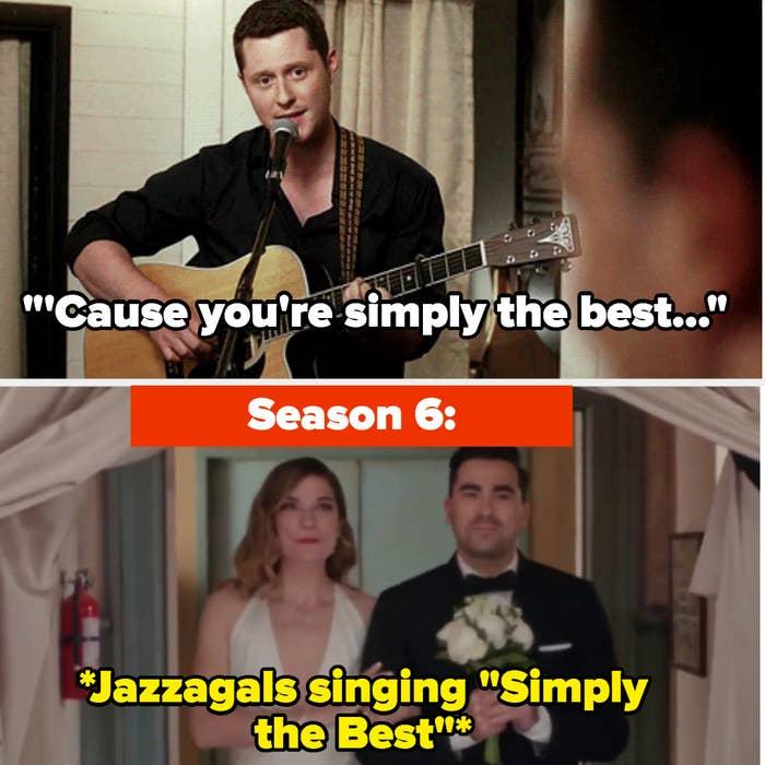 Patrick serenades David alongside Jazzagals singing the same song at their wedding in Season 6