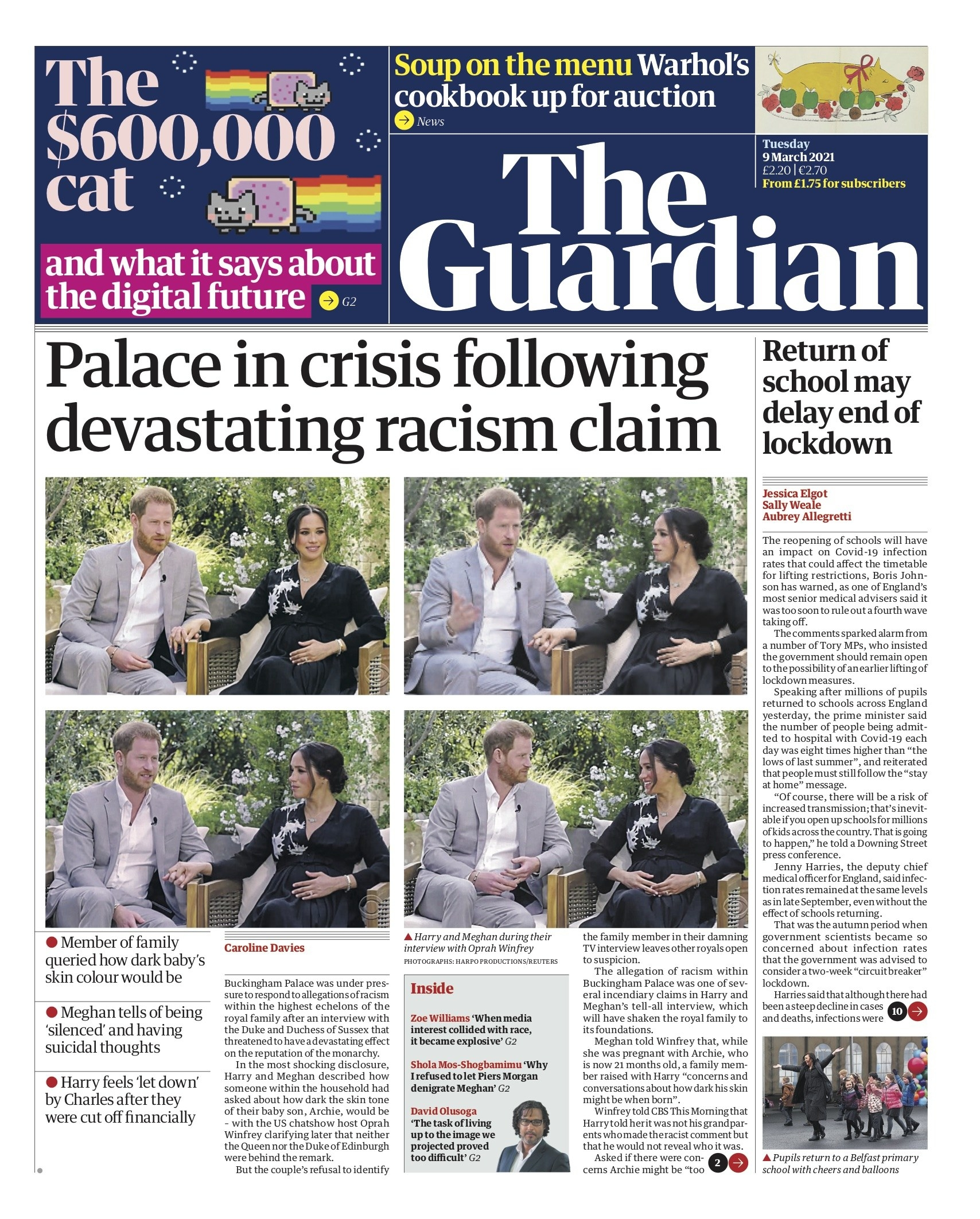"""The Guardian's front page reads """"Palace in crisis following devastating racism claim"""""""
