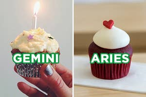 """On the left, someone holding up a vanilla cupcake with vanilla frosting, stars, and a lit candle on top labeled """"Gemini,"""" and on the right, a red velvet cupcake with a heart sprinkle on top labeled """"Aries"""""""