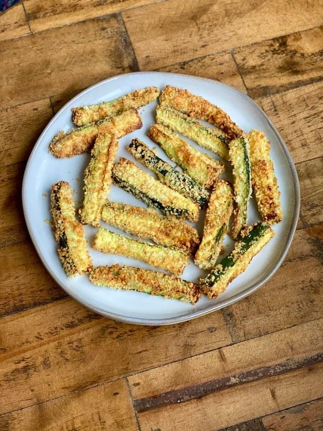 Air fryer breaded zucchini fries.